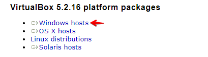 téléchargement de virtualbox sur le site officiel
