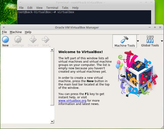 menu principale de virtualbox sur linux