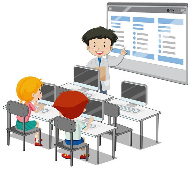 Étudiants Avec Des éléments De Classe Informatique Sur Fond Blanc | Vecteur Gratuite